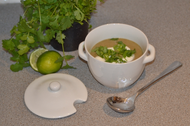 Green lentil, coriander and lime soup